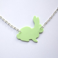 Pastel Green Handmade Bunny Rabbit necklace, designed and carefully cut by hand- in black and pastel colours for spring  and easter time