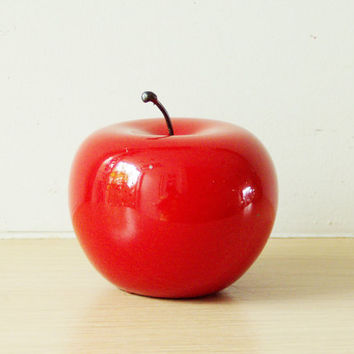 Red apple sculpture, ceramic apple in bright red, earthenware clay red apple with black, metal stem