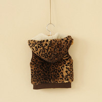 18m,24m,2y,3y,4y,5y,6y toddler girl leopard vest winter vest