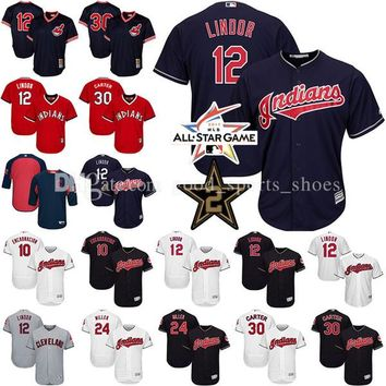 Men's Cleveland Indians 12 Francisco Lindor 30 Joe Carter 24 Andrew Miller 10 Edwin Encarnacion Cool Base baseball Jerseys Throwback Mesh
