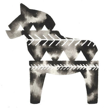 Print . Geometric Dala Horse . Swedish Design . Watercolor Art Print . Sweden
