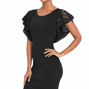Black O-Neck Hollow Out Cloak Sleeve Bodycon Mini Dress