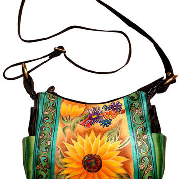 Rising Flower Hand Painted Genuine Leather Bag