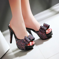 Open Toe Glitter Bow High Heels Slides Sandals 1750