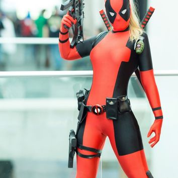 Deadpool Dead pool Taco Lady  Costume Black and Red Spandex Bodysuit with Ponytail Hole halloween costumes for women/female/girls AT_70_6