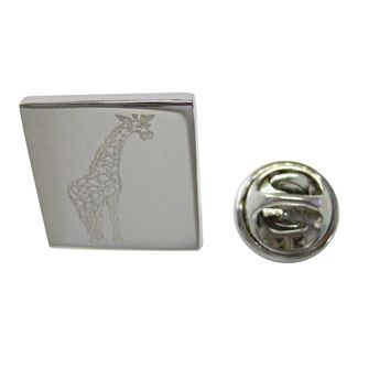 Silver Toned Etched Giraffe Lapel Pin