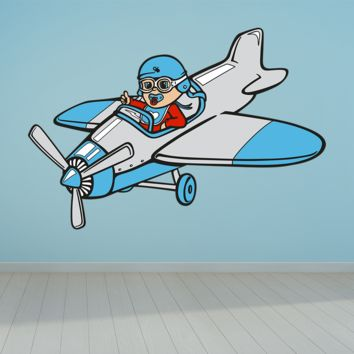 Blue Kids Airplane Colorful Wall Decals