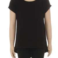 Girl's Black Tunic Top Short Sleeve Asymmetric: S/M/L/XL