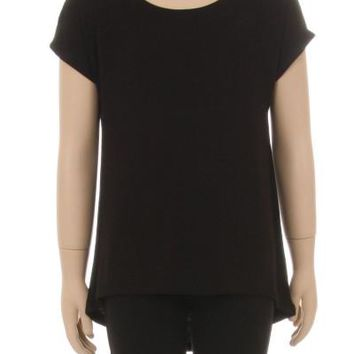 Girl's Black Tunic Top Short Sleeve Asymmetric Hem Solid Black: S/M/L/XL