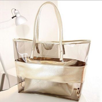 Women Jelly Bag PVC Transparent Beach Bag England Style Travel Large Capacity Zipper Handbags Fashion Female Crystal Tote Purse