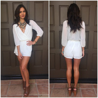 Sheer Bliss 3/4 Sleeve Romper - Ivory