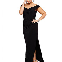 Plus Size Black V-Neck Ruched Maxi Dress
