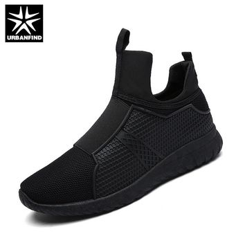 URBANFIND Winter Warm Men Casual Shoes Breathable Slip-On Flats EU 39-44 Men Comfortable Shoes Black / White / Red Color