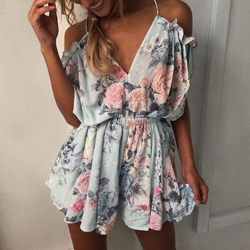 Fashion Cold Shoulder V Neck Flower Playsuit