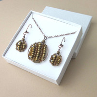 Seed Bead Necklace Earring JewelrySet Bronze Amber Copper Wire Wrapped