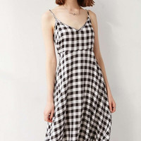 Deep V Halter Retro Black And White Plaid Harness Dress