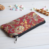 Birds pencil case zipped, Pencil Pouch, Cosmetic pouch, Make Up Pouch, Charger bag, Project bag, Travel bag, Bridesmaid gift, Bridal purse