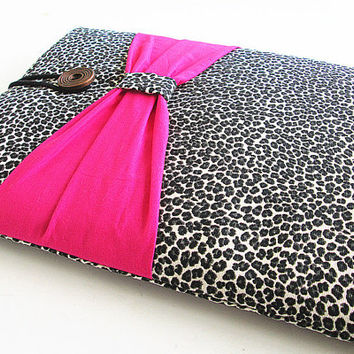Macbook 13 inch Case, Macbook case, Sleeve Macbook 13 Air/Pro Case Padded 13in-Leopard Bow.