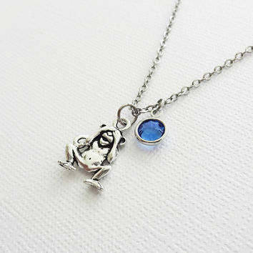 See No Evil Monkey Silver Necklace, Orangutan Necklace, BFF, Best Friend, Birthday Gift, Best Friend, Swarovski Channel Crystal Birthstone
