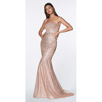 Floor Length Strapless Mermaid Gown Rose Gold Flocked Glitter Fabric