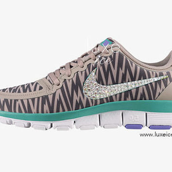 NIKE free 5.0 v4 shoes w/Swarovski Crystals Zebra Medium Orewood/Brown/Iron Ore/AtomicViolet/Diffused Jade