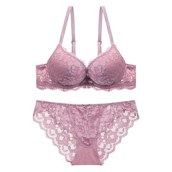 Women Girls Ladies Strappy Soft Sexy Lace Bra Set See-through Lingerie Lingerie Underwear Panties