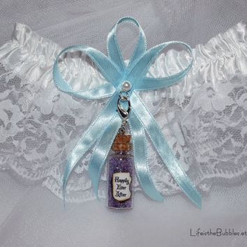 Happily Ever After Garter and Charm Fairy Tale Wedding Disney Inspired Bride Color Options