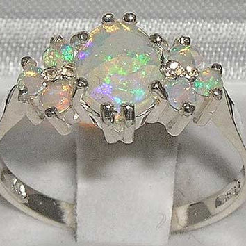 Stunning Solid 14K White Gold Fiery Opal Ring - Made in England - Supplied in Your Finger Size