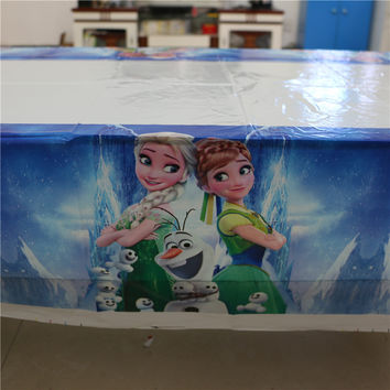 Cartoon elsa and anna disposable plastic tablecover 108*180cm tablecloth map kids birthday party decoration supplies