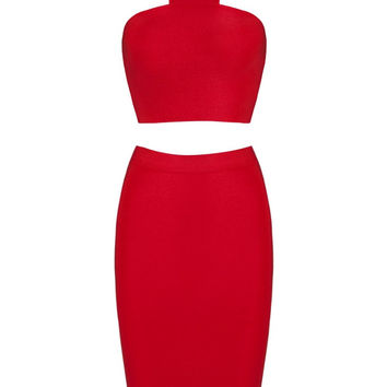 Honey Couture CHARLOTTE Red Bandage Halterneck Crop Top & Bandage Pencil Slit Skirt Set