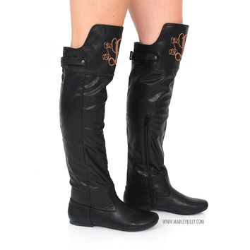 Monogrammed Black Knee Boot | Footwear | Marley Lilly