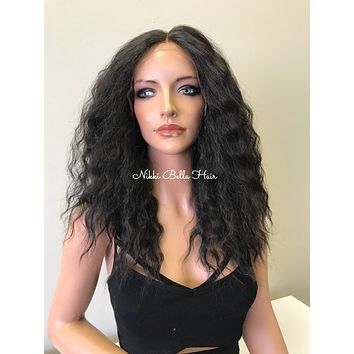Medium Brown Wavy Hair Human Hair Blend Invisible Soft Silk Top SWISS 4x4 Lace Front Wig - 81712** Luciana