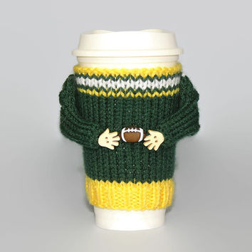 Green Bay football coffee sleeve. Coffee cozy. Football jersey. Coffee cozy. Mug sweater. Travel mug cozy. Football gear. Gift for him