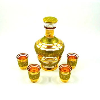 Vintage Cordial Set and Decanter by Cristallerie et Verrerie de Monaco from 1950s