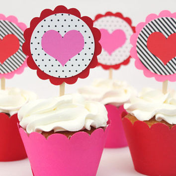 Valentines Day Cupcake Toppers Red Pink Black White Heart Valentine's Day Party Polka Dot Stripes Party Supplies Kids Valentine / Set of 12