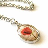 Red Rose Pendant Necklace with Beautiful Red Rose Photo Pendant