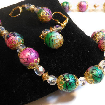 Painted glass beads necklace and earring set with Czech fire polished AB crystal and gold plate findings hand made