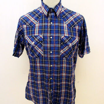 Retro Ely Cattleman Blue Check Western Pop Snap Shirt M