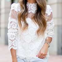 White Lace Sheer Panel Scallop Trim Long Sleeve Blouse