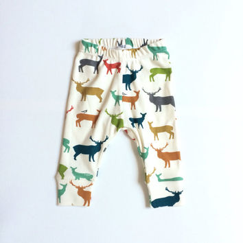 Organic baby leggings. Comfy pants. Organic knit fabric with elk family. Infant cuff leggings. Gender neutral. Birch woodland deer