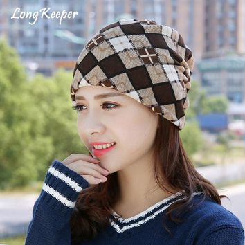 Long Keeper 2018 Beanies Plaid Fleece Hat For Women Winter Hats Gorras Hats Beanies Scarf Cotton Lattice India Stocking Lady Cap
