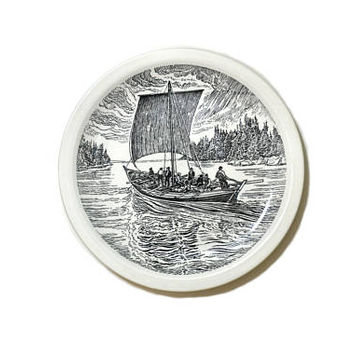 Wedgwood Historical Canadian Vessels Plate The York Boat Plate Canadian Boats Nautical Plate Black and White Plate