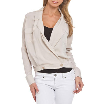 Beestango Womens Ready Willing & Able  Wrap Long Sleeves Blazer