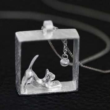 Sterling Cat Capsule Necklace