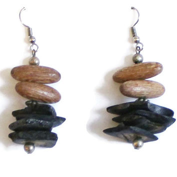 Rustic Wood Bead Earrings, Earthy Earrings, Boho Earrings, Hippie Earrings