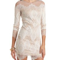 Mesh & Lace Long Sleeve Bodycon Dress by Charlotte Russe - Nude Combo