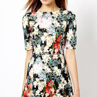Floral Half Sleeves Mini Dress
