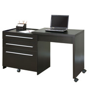 Cappuccino Slide-Out Desk With Storage Drawers