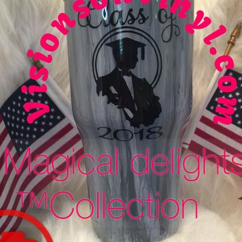 Graduation Hats,With male or Female 2nd Graduation Decal On Back Arylic Pour Tumbler with epoxy finish (30oz Tumbler Displayed)