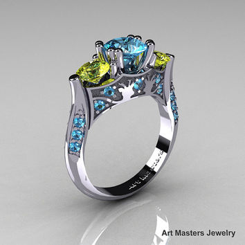 Nature Inspired 14K White Gold Three Stone Blue and Yellow Topaz Solitaire Wedding Ring Y230-14KWGYTBT